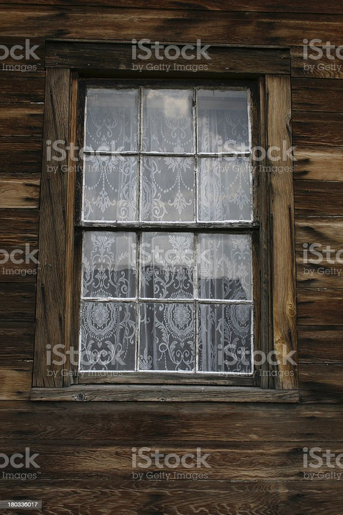 Old Window With Lace royalty-free stock photo