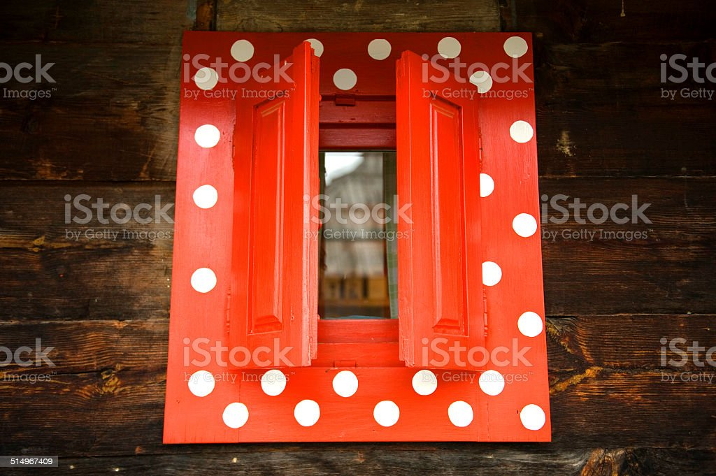 old window with red frame stock photo