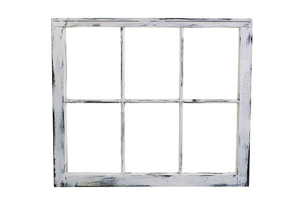Old windows isolated on white background stock photo