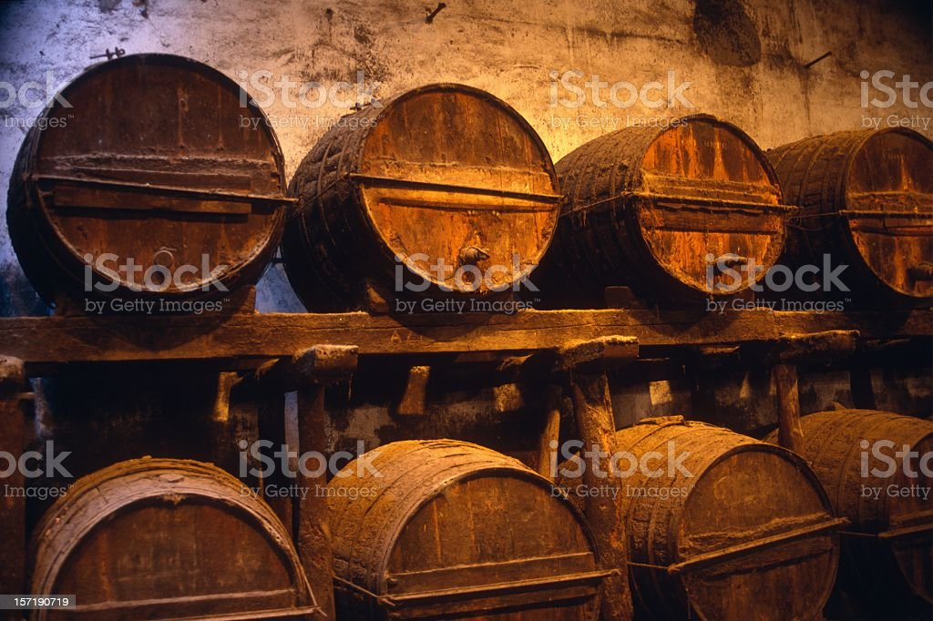 Old wine barrels stock photo