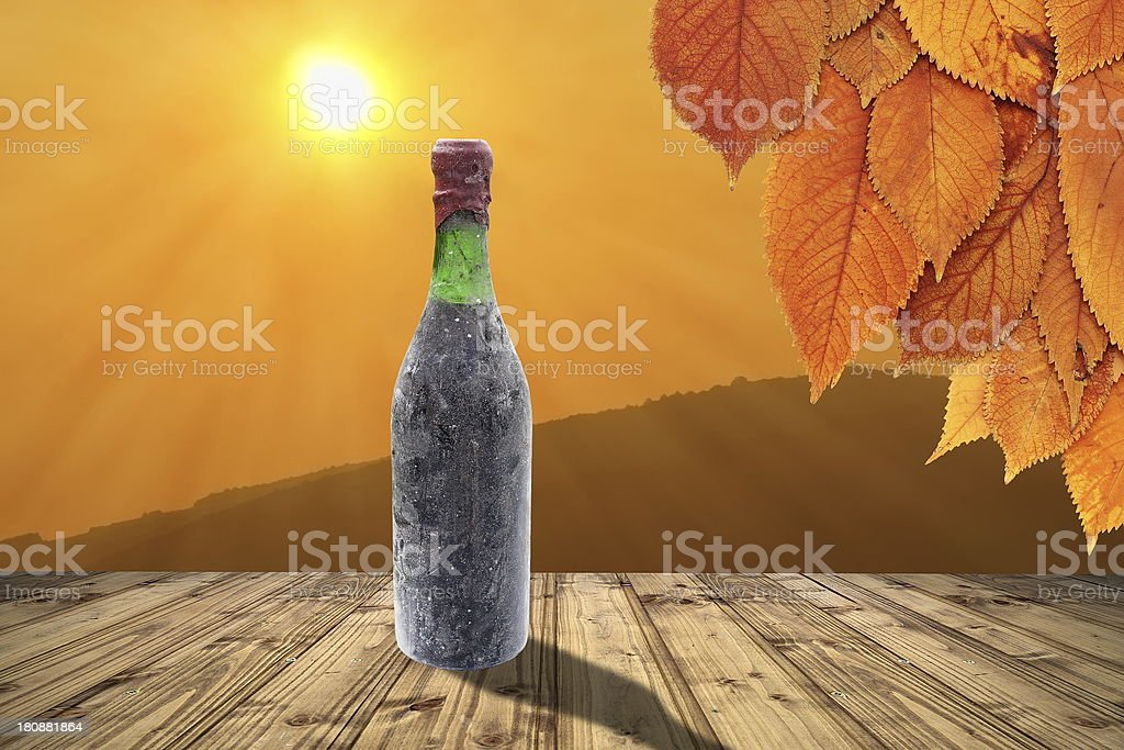 old wine bottle on table royalty-free stock photo