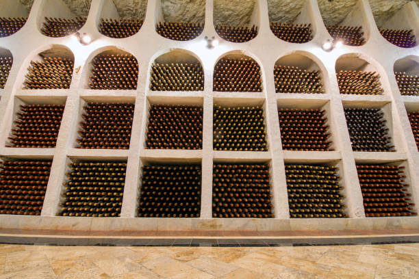 old wine bottles storage - moldova stock pictures, royalty-free photos & images