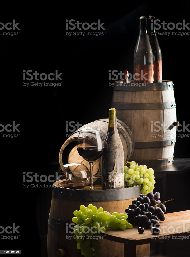 Old wine in a cellar stock photo
