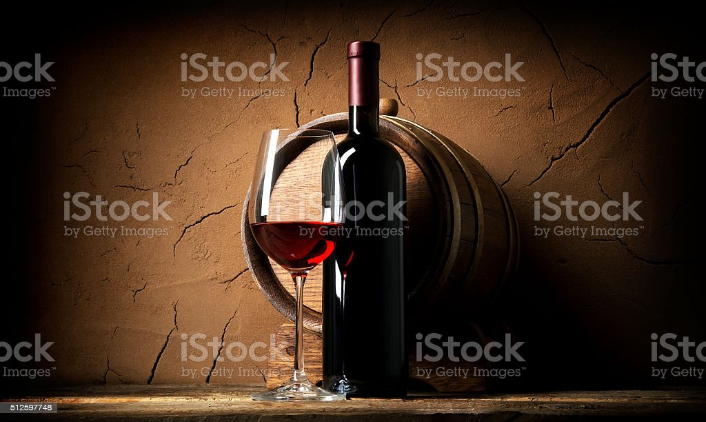 Old wine in cellar stock photo