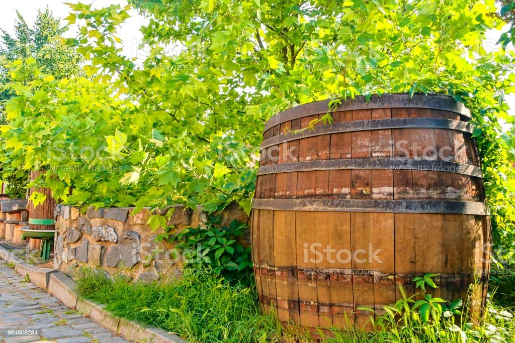 Old wine press and rustic wine barrel.. Wine background in Europe. Czech Republic, South Moravia royalty-free stock photo