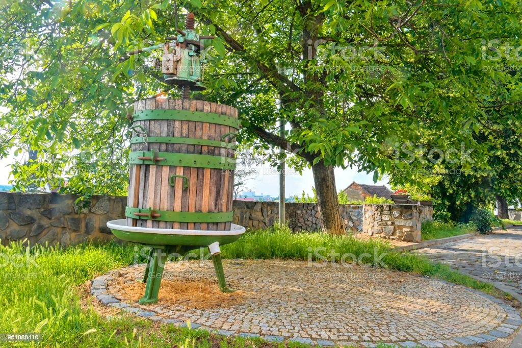 Old wine press. Wine background in Czech Republic, South Moravia royalty-free stock photo