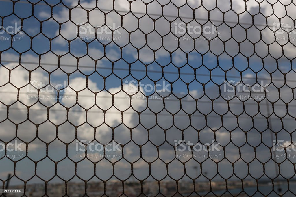Old wire mesh on Doxi Stracca Fontana Palace in Gallipoli stock photo