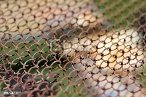 istock Old Wire Mesh.Simple wired fence pattern.Old metal grid 933274798
