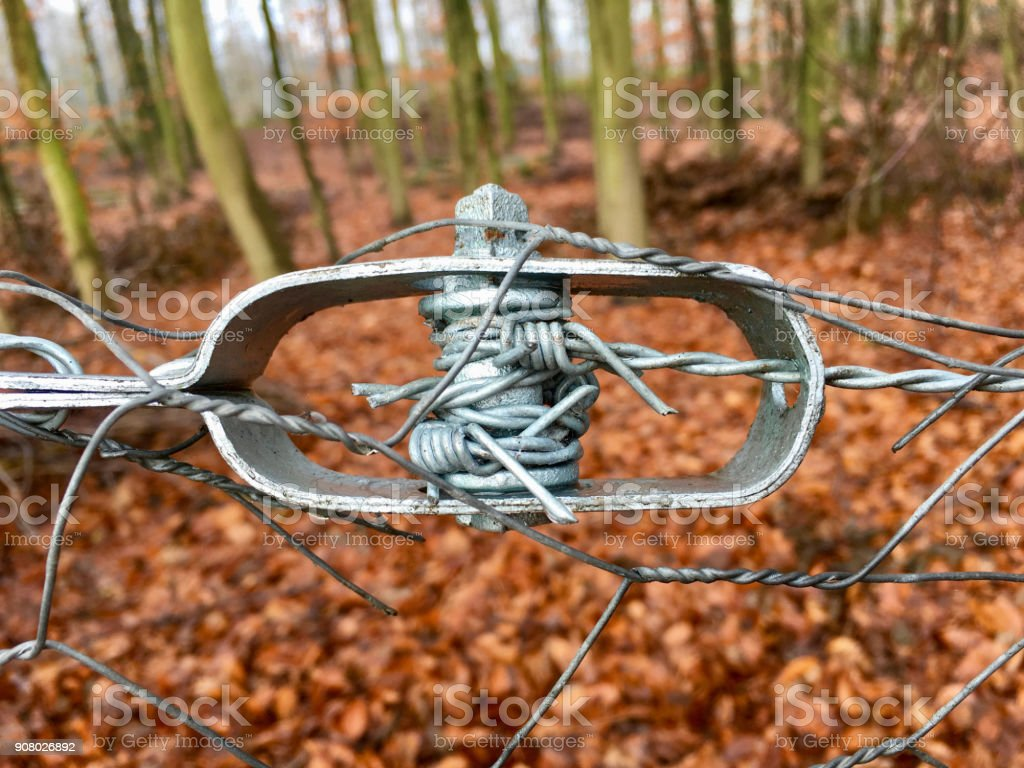 Old Wire Tensioner Of A Wire Fence In Closeup Stock Photo & More ...