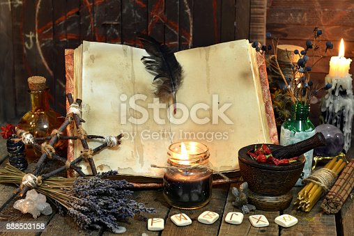 811119304 istock photo Old witch book with empty pages, lavender flowers, pentagram 888503158