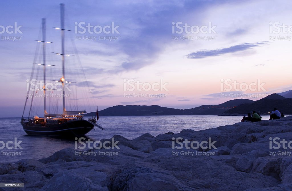 Old wodden yacht in the Mediterranean. royalty-free stock photo