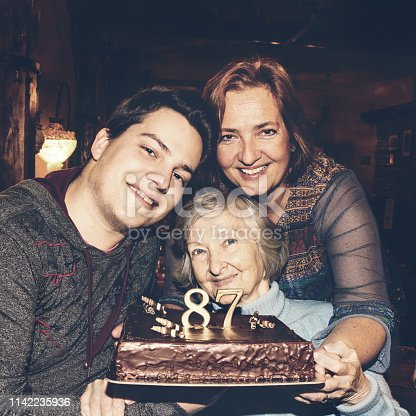 Senior woman celebrates 87th birthday with her daughter and grandson. The three of them are posing holding a birthday cake.
