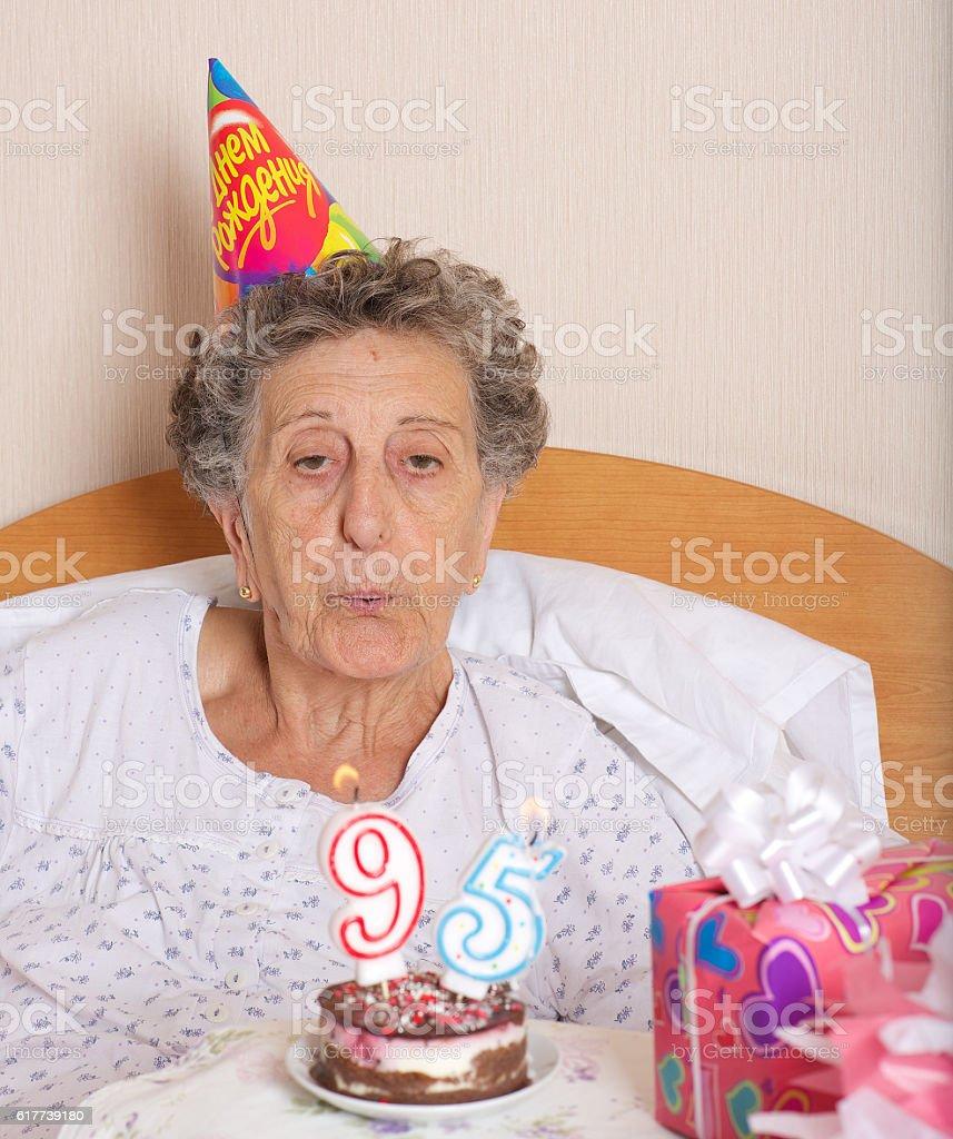 Old Woman Celebrates Her Birthday Royalty Free Stock Photo