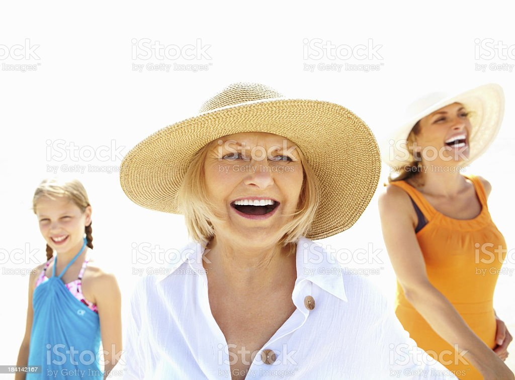Old woman, daughter and granddaughter enjoying outdoors royalty-free stock photo