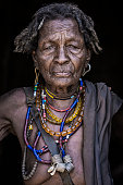 Omo Valley, Ethiopia- March 19 2019: Portrait of an old woman from the Arbore tribe, Omo valley, Ethiopia.