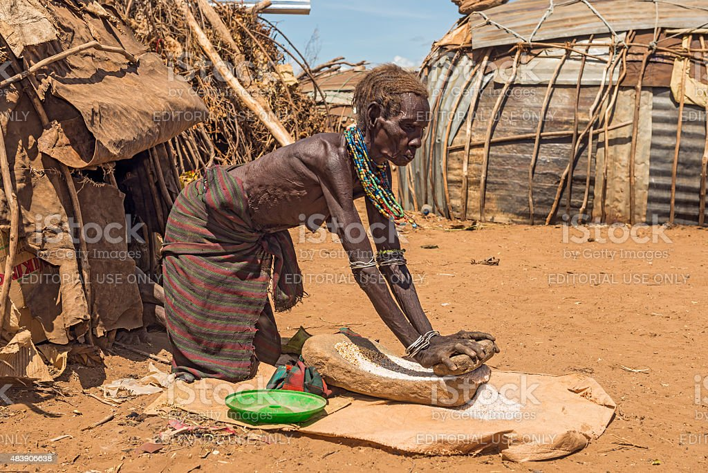 Old woman from the African tribe Dasanesh, Ethiopia stock photo