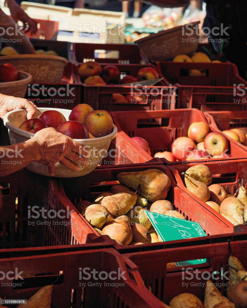 Old woman hands holding basket full of apples in open air market stand