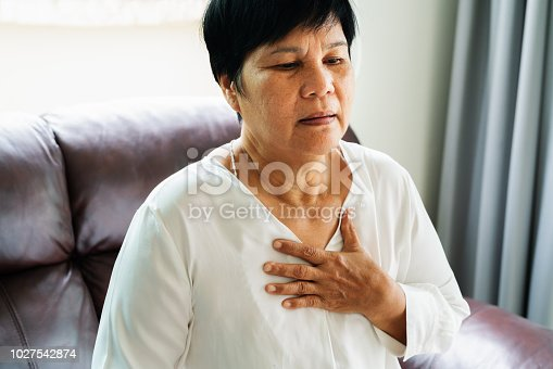 istock old woman having heart attack and grabbing her chest 1027542874