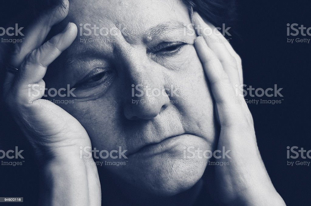 old woman headache royalty-free stock photo