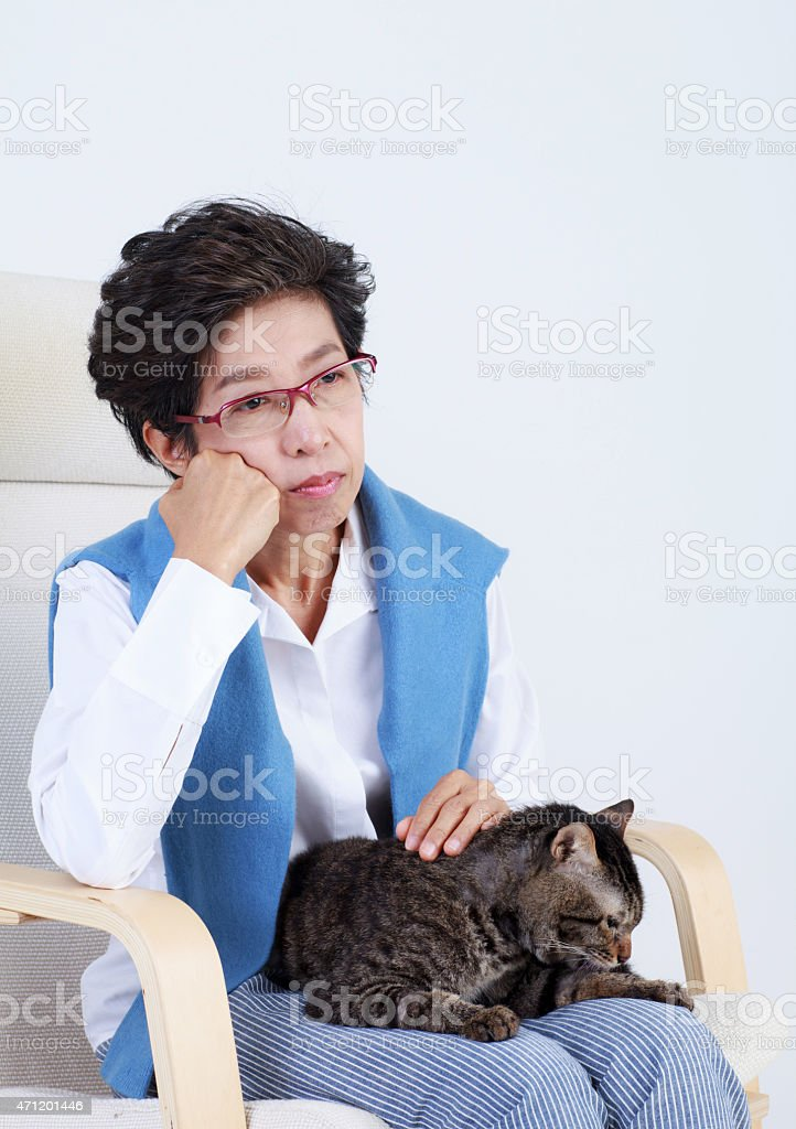Old woman holding cat and sitting on the chair isolates stock photo