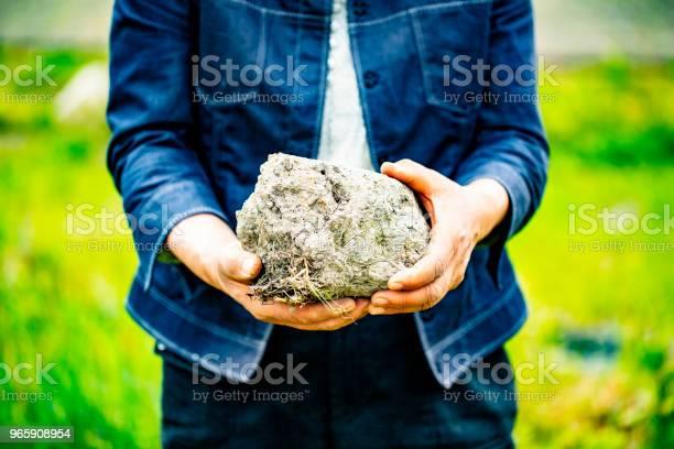 Old Woman Holds In Her Hands A Big Soil - Fotografias de stock e mais imagens de Adubo - Fenómeno Natural