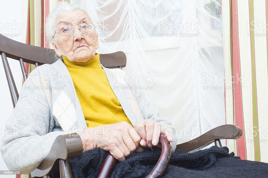 Old woman in nursing home stock photo