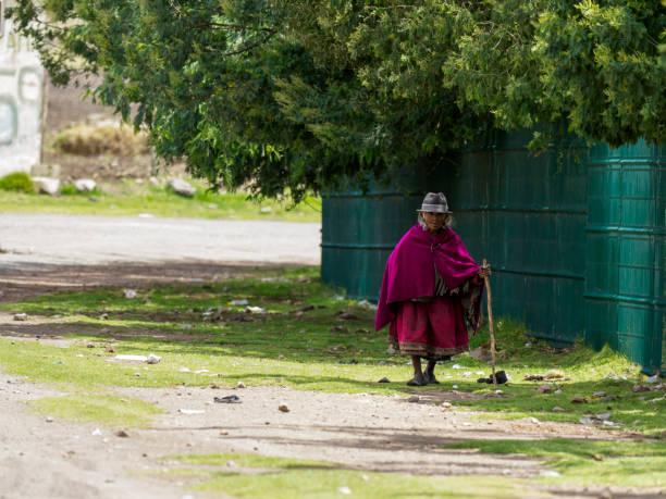 Alte Frau in traditioneller Kleidung zu Fuß im Dorf Colta – Foto