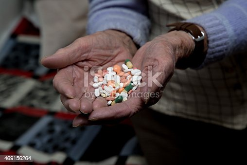 istock Old woman is holding medications in her hands 469156264