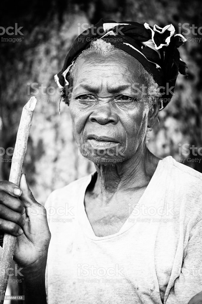 Old woman looking into the distance royalty-free stock photo
