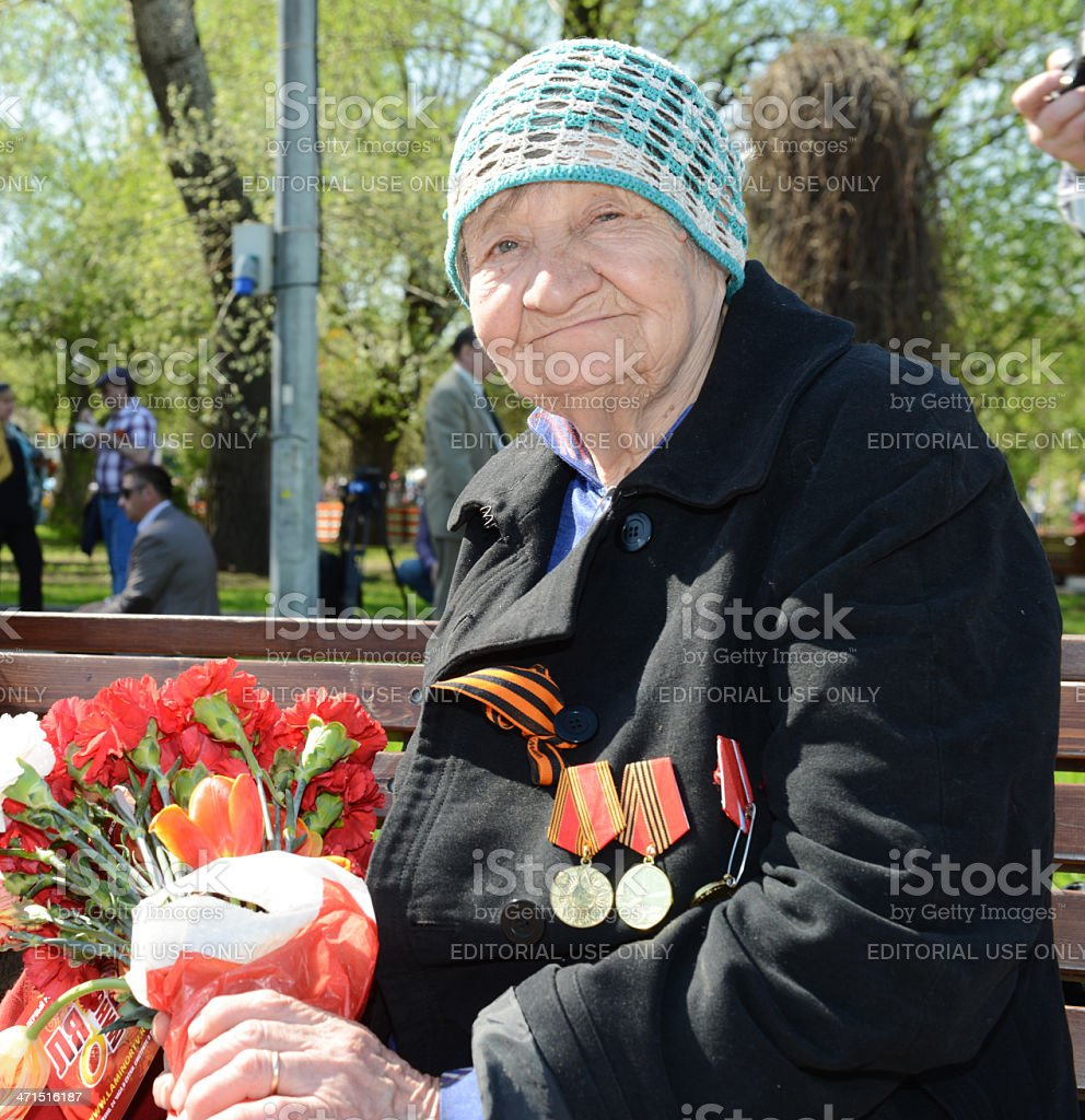 Old woman veteran royalty-free stock photo