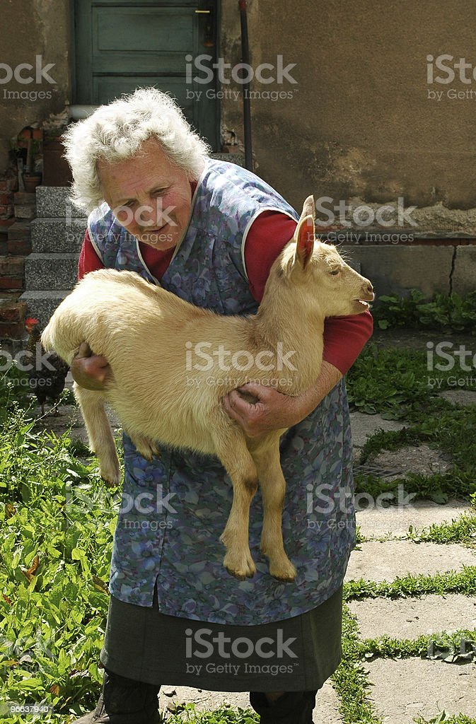 Old woman with kid stock photo