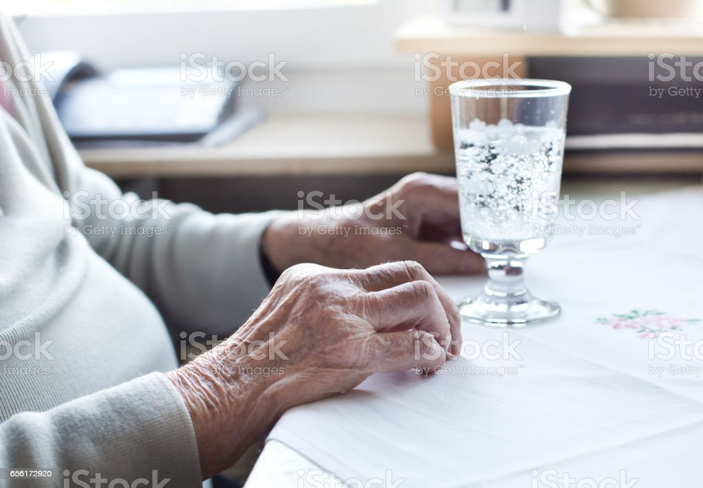 Old woman's hand stock photo