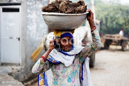 Rural women of India ethnicity wearing suit salwar and  carrying buffalo dunk cakes on her head and talking on smart phone.