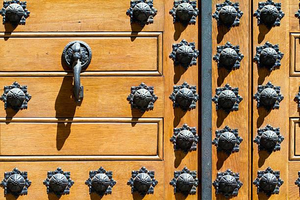 Old wood and metal door stock photo