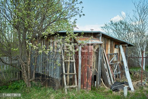 The old wooden shed to storage of garden tools and equipment in a front or back yard. A old boards and other stuff surround the shed. Shooting in sunny springtime day