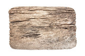 istock Old wood board isolated on white background. Old nature weathered wood plank isolated 1160796545