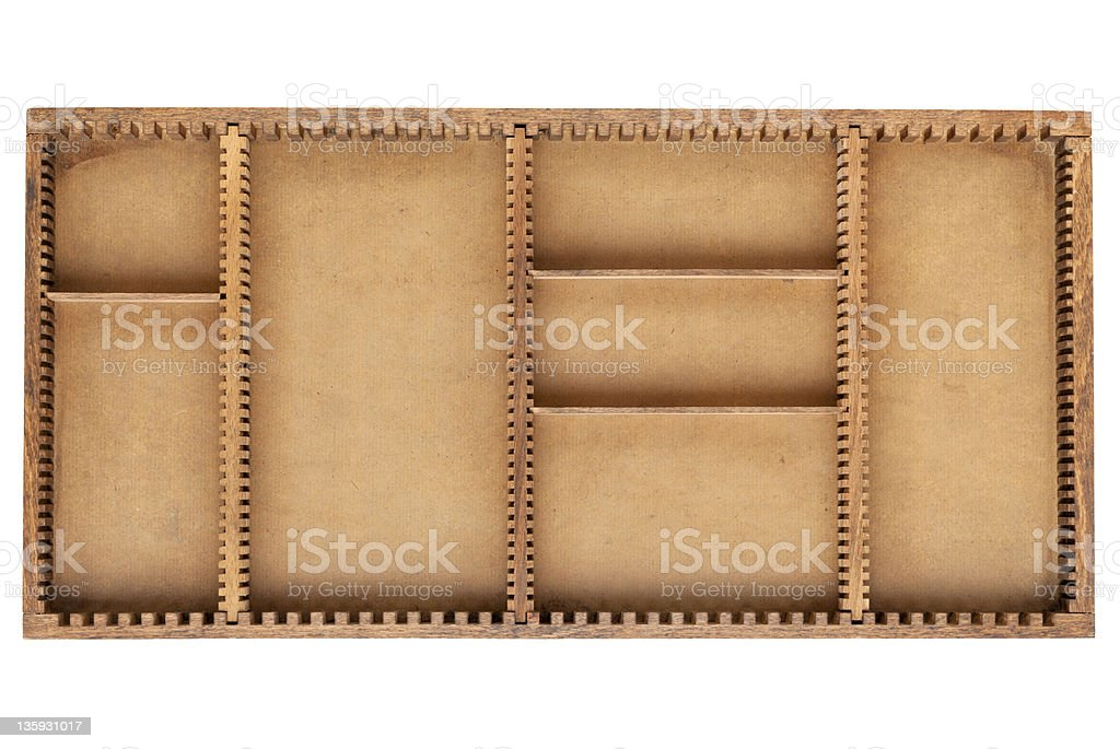 old wood box with dividers stock photo