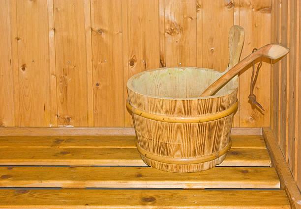 Old wood bucket stock photo