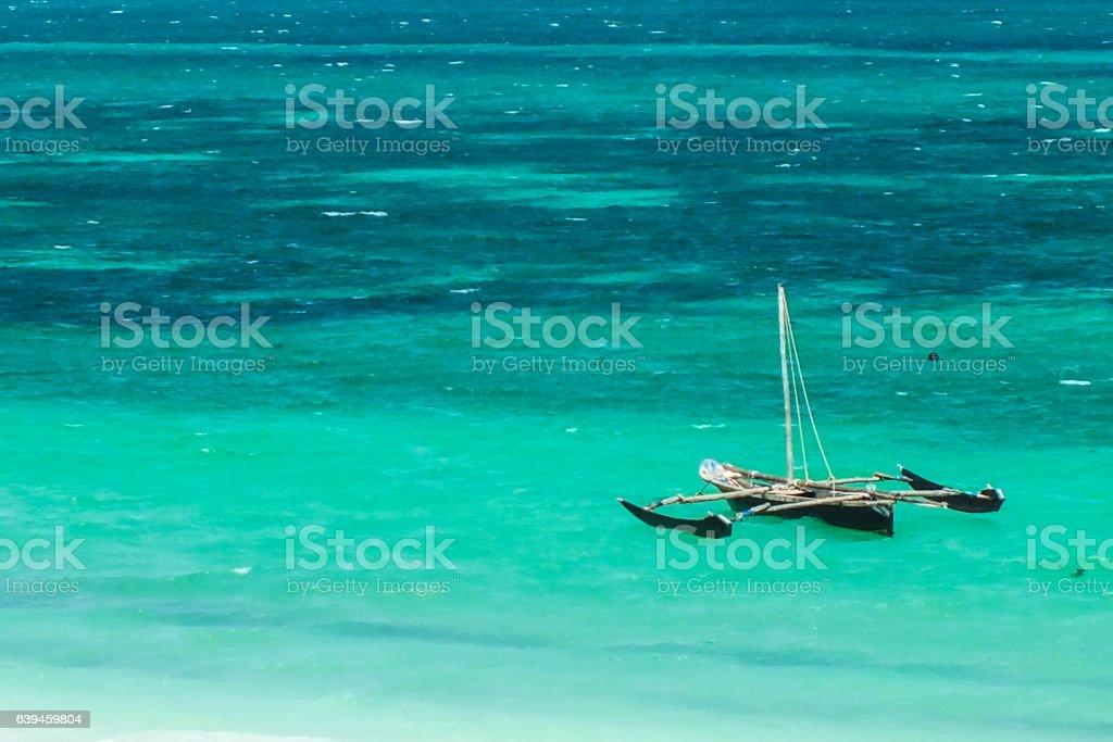 Old Wood Catamaran on the Sea stock photo