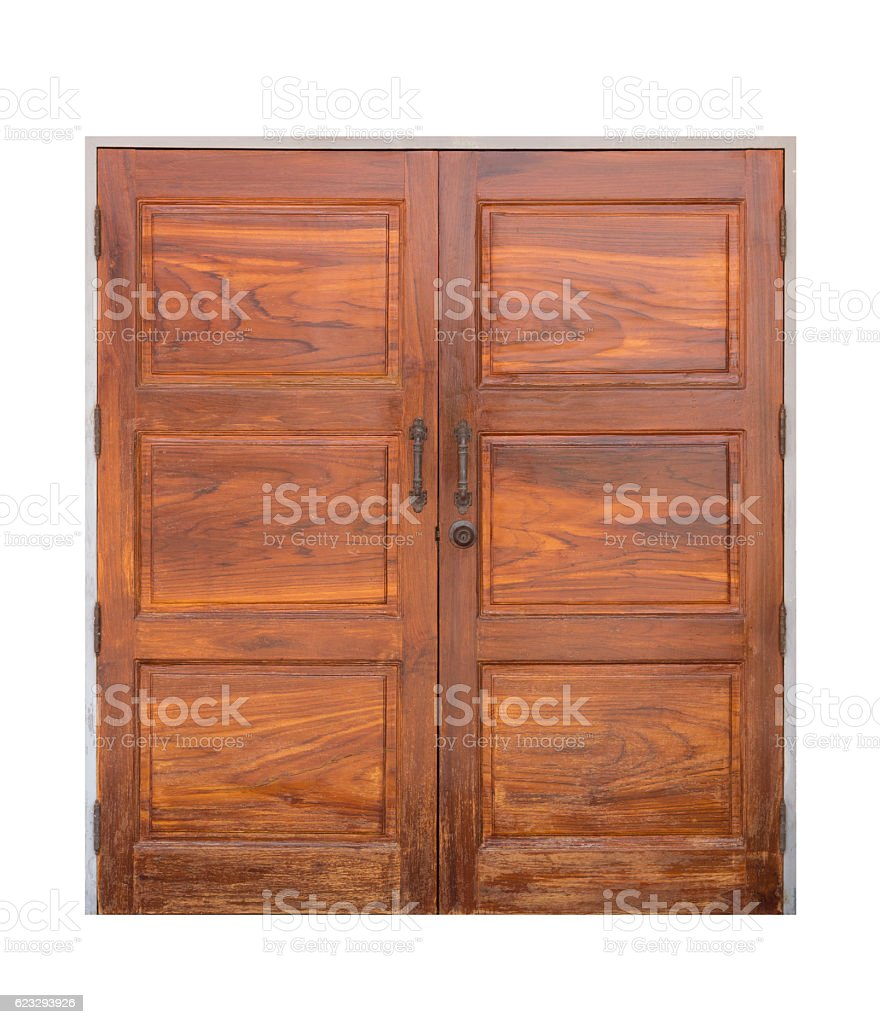 old wood door isolated stock photo
