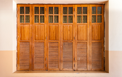 Old Wood Doors with Glasses and Curtains