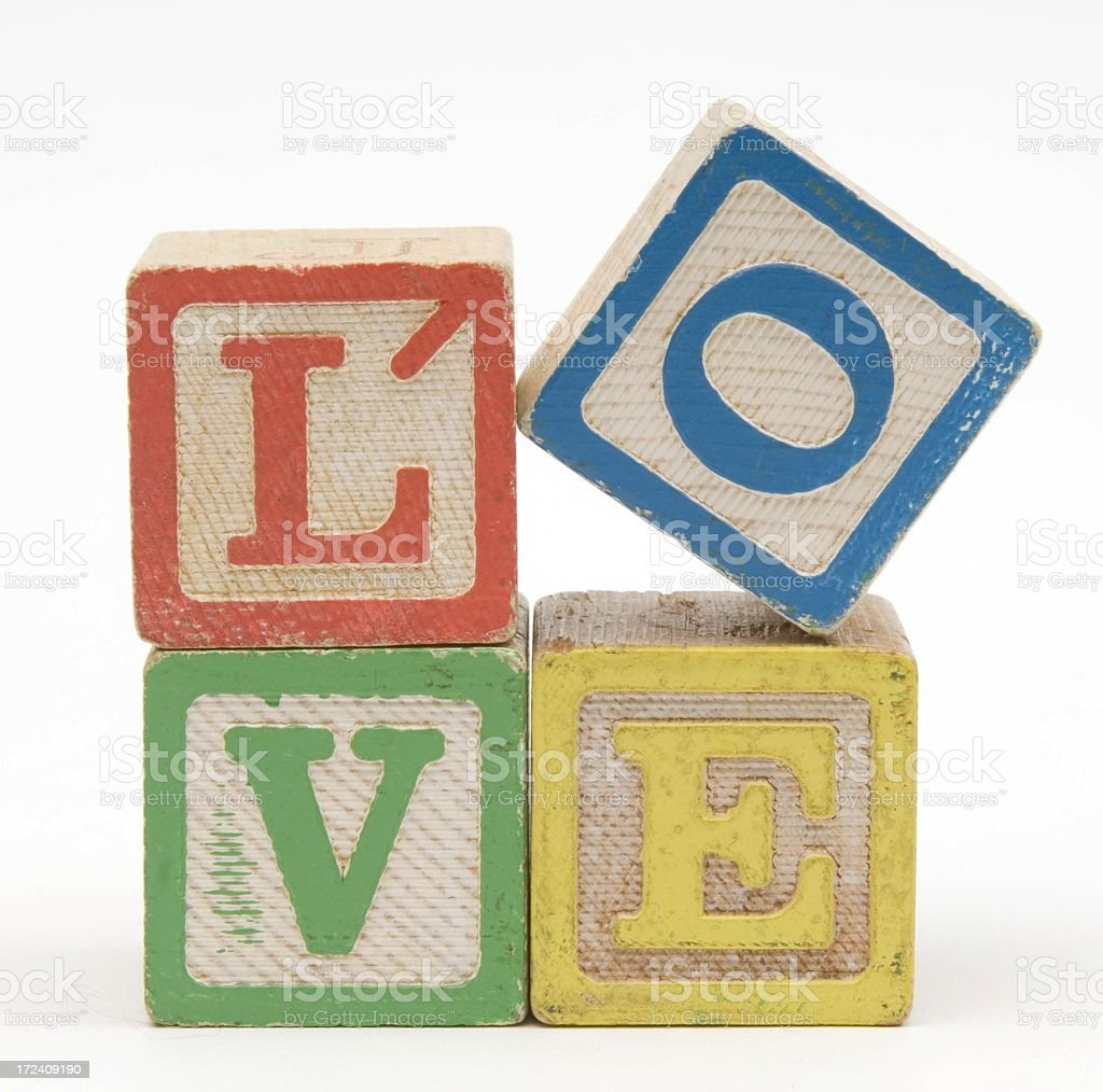 Old Wood Love blocks stock photo