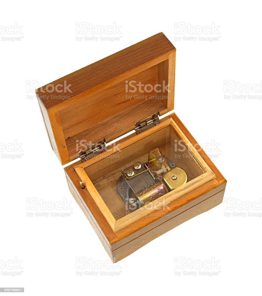 Old wood music box stock photo