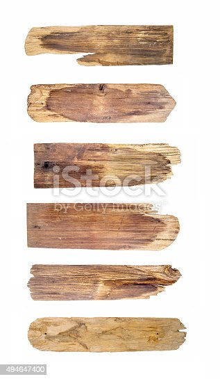 istock Old Wood plank, isolated on white background 494647400