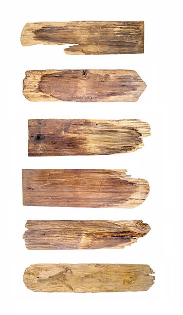 old wood plank, isolated on white background - gebroken bord stockfoto's en -beelden