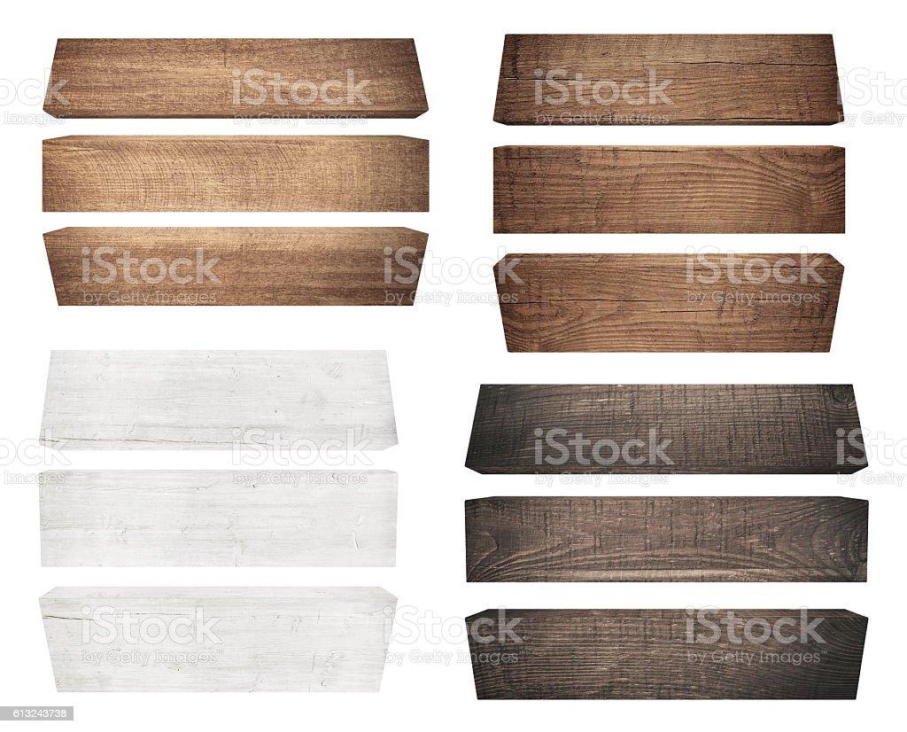 Old Wood plank, isolated on white background stock photo