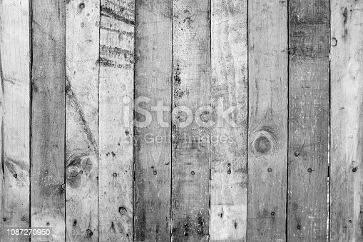 Black and White of old wood planks wall with scratched, dirty and rustic on textured surface. Abstract nature background.