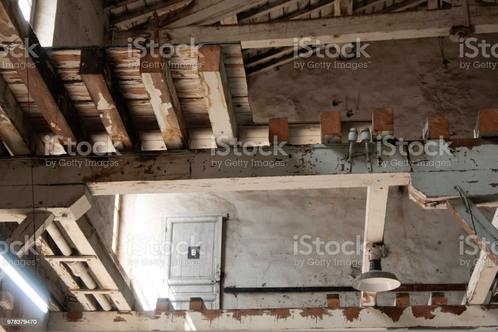 Old wood roof frame. stock photo