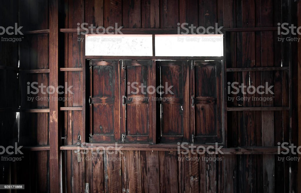 old wood room interior and window stock photo