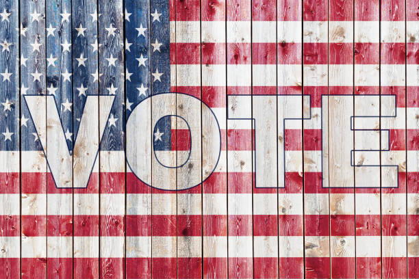old wood siding wall american flag painted overlay stars and stripes 2020 election graphic with vote text presentation banner poster invitation flyer illustration background backdrop card stock photo